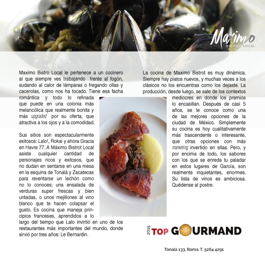 top gourmand maximo bistrot